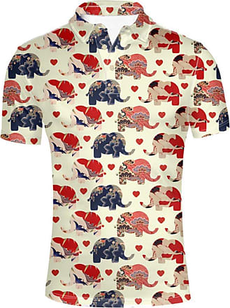 Hugs Idea Classic Mens Polos Shirts Elephant Heart Print Short Sleeves Sport Summer T-Shirt Tops