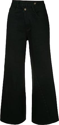 Ground-Zero Calça jeans flare cropped - Preto
