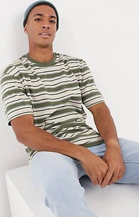 Topman Khaki und kamelhaarfarbig gestreiftes T-Shirt-Grün