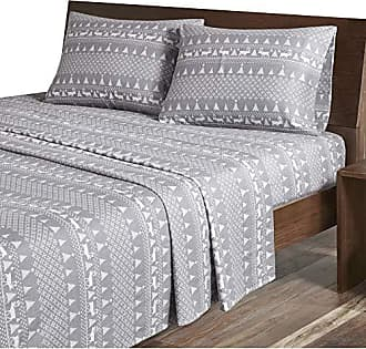 Woolrich Flannel Cotton Printed Sheet Set, Queen, Grey Winter Frost