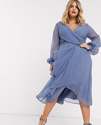 Asos Curve ASOS DESIGN Curve - Vestito midi a portafoglio con gonna a doppio strato e maniche lunghe-Blu