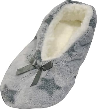 Foxbury Ladies Cosy SupersoftSatin Bow Slippers with Grip Grey S/M