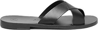 ÁLVARO GONZÁLEZ Antonio Crossover Strap Leather Sandals - Mens - Black