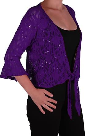 Eyecatch Oversize 12-26 - Darcey Ladies Sequin Cardi Tie Shrug Lace Bolero Top Womens Plus Size Purple 20-22