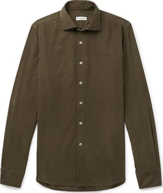 Incotex Ween Slim-fit Cutaway-collar Cotton-corduroy Shirt - Army green