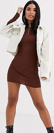Brave Soul Petite Goswell - Pulloverkleid mit Reißverschluss-Braun