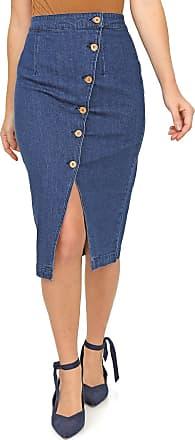 Vero Moda Saia Jeans Vero Moda Midi Botões Azul
