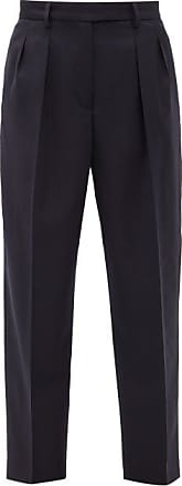 A.P.C. Cheryl Pleated Wool-herringbone Trousers - Womens - Navy