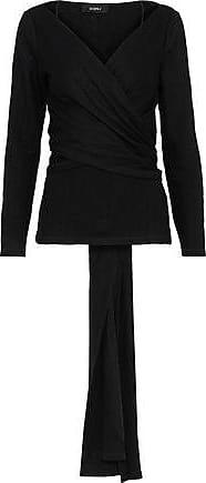 GOEN.J Goen.j Woman Wrap-effect Wool-fleece Top Black Size S