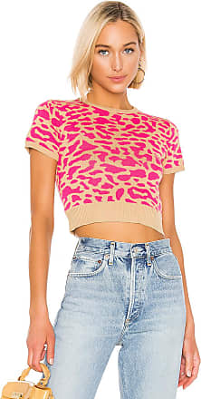 J.O.A. Leopard Short Sleeve Sweater in Pink
