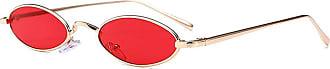 Hellomiko Small Oval Sunglasses for Men Women Retro Metal Frame Yellow Red Vintage sunglasses