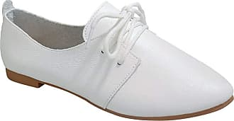 Daytwork Lace Up Comfort Flats - Women Fashion Brogue Pointed Loafers Soft Classic Walking Driving Shoes White