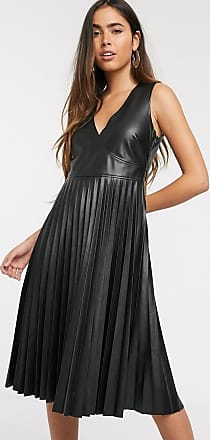 Stradivarius pleated faux leather dress in black