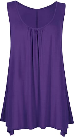 ZEE FASHION Women Ladies Loose Fit Ruched Hanky Hem Plain Jersey Tunic Blouse Sleeveless Flared Vest Swing Top Plus Sizes UK 8-26 Purple