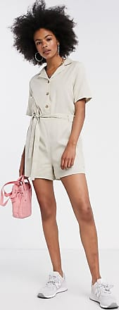 Noisy May playsuit with tie front in cream-Beige