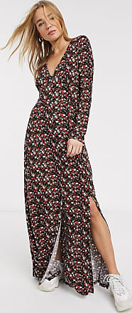 Asos long sleeve button through maxi tea dress with splits in black ditsy print-Multi