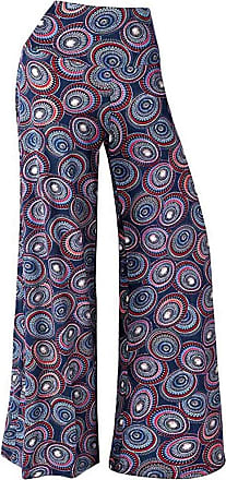 JERFER Loose Pants Women Wide Leg Stretchy Printed Elastic Waistband Mid-Waist Trousers