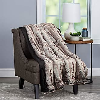 Trademark Bedford Home Throw Luxurious, Soft, Hypoallergenic Premium Chinchilla Fur Blanket with Faux Mink Back and Gift Box, 60x70, Striped