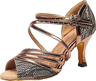 Find Nice Womens Ballroom Practice Shoes Peep Toe Ankle Straps Latin Salsa Evening 7153 Brown 2.5 UK