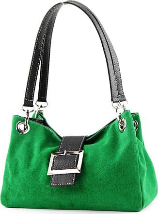 modamoda.de ital. Ladies Handbag Tote Satchel leather bag Suede Small TL02, Colour:green