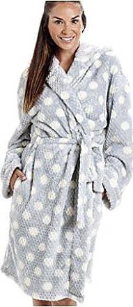 f6e5c17495829e Camille Honey - Damen Bademantel aus superweichem Fleece mit Punktemuster -  Grau 46/48