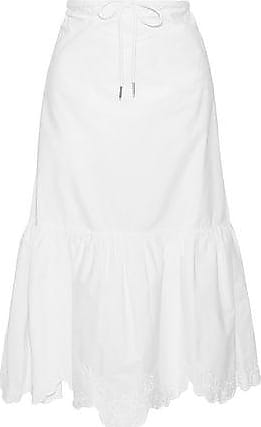 c7557865f7a97 See By Chloé See By Chloé Woman Broderie Anglaise Cotton-poplin Midi Skirt  White Size