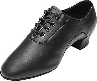 Daytwork Boys Sports Outdoor Dance Shoes - Mens Black Lace Up Shoes Latin Dance Shoes Round Toe Mid Heel Shoes 3.5cm Ballroom Modern Jazz Samba Dance