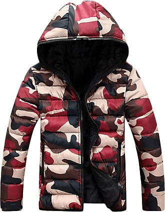 Yonglan Womens Mens Camo Hooded Down Jacket Couple Winter Warm Padded Puffer Coat Red XL