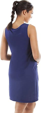 Camille Womens Ladies Sleeveless Striped Florescent Chemise Nighty 16/18 Navy