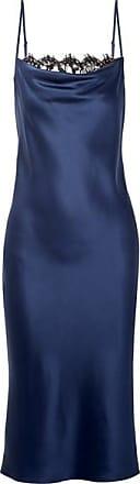 Fleur du Mal Draped Lace-trimmed Silk-satin Midi Dress - Navy
