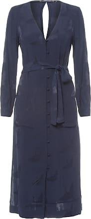 Shoulder Vestido Chemise Midi Jacquard Garça Shoulder - Azul