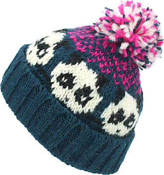 Loud Elephant Wool Knit Bobble Beanie Hat - Panda - Teal Pink