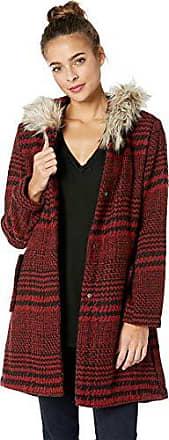BB Dakota Juniors Play It Cool Houndstooth Plaid Coat, Cherry red, Medium