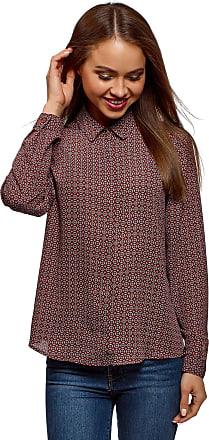 oodji Womens Basic Blouse in Flowing Fabric, Red, UK 14 / EU 44 / XL