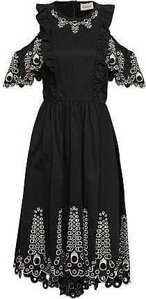 Temperley London Temperley London Woman Amour Cold-shoulder Broderie Anglaise Cotton-poplin Midi Dress Black Size 10