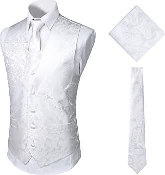 Whatlees Mens Classic Paisley Floral Jacquard Waistcoat & Necktie and Pocket Square Vest Suit Set for Party Wedding White 02010008XWhite+M
