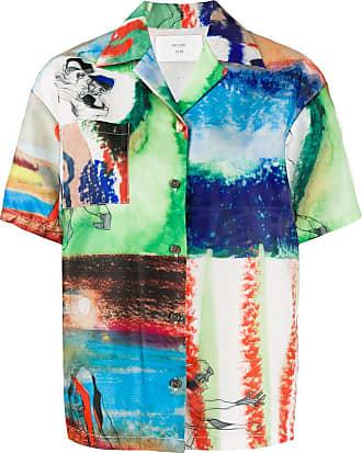 Quetsche panelled print short-sleeve shirt - Green