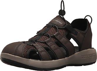 Skechers Men 51834 Open Toe Sandals, Brown (Brown Leather/Mesh/Black Trim), 9.5 UK (44 EU)
