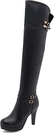 NOADream Women High Heels Leather Boots Platform Over-The-Knee Boots Stylish Warm Work Walking Party Wedding Thigh High Boots Size Black