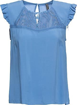 23418132314300 Bonprix Bluse mit Spitze kurzer Arm in blau von bonprix