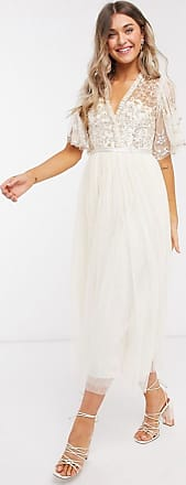 Needle & Thread wrap midi dress with gold embellishment in champagne
