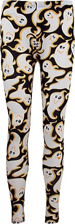 Be Jealous Womens Skull Pumpkin Halloween Costume Leggings Ghost White Black S/M (UK 8/10)