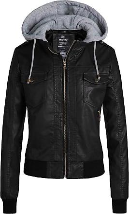 Wantdo Faux Leather Coats for Women Black Medium
