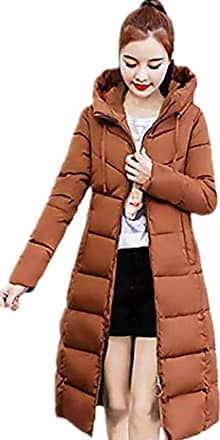JERFER Ladies Womens Casual Fashion Winter Warm Coat Collar Long Jackets Warm Thicken Padded Hooded Coat Brown