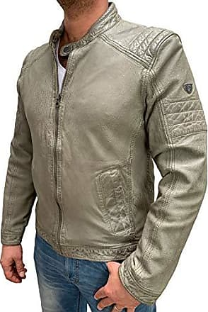 Gipsy by Mauritius Herren Lederjacke im Biker Look aus feinstem Lammnappa Leder (XL, Light Celadon)