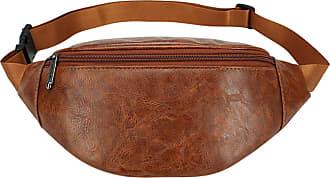 NA Men women waist bag fanny pack Zip leather pouch nerka anti theft money belt streetwear cross Bag Shoulder Pocket pouch heupta,Khaki,-Khaki