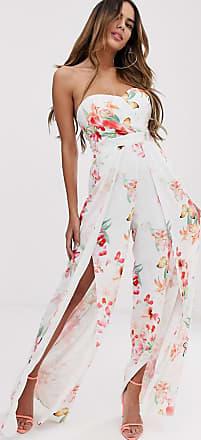 Lipsy Tuta jumpsuit a fiori con scollo alla Bardot e spacco sulla gamba-Multicolore