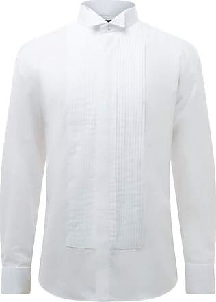 Dobell Mens White Dress Shirt Regular Fit 100% Cotton Wing Collar Double Cuff Pleated Fly Front-17.5