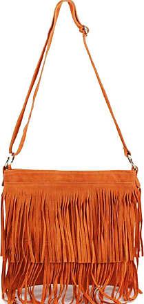 Your Dezire Ladies Suede Leather Tassel Cross Body Messenger Bag Women Shoulder Over Bags Handbags (Orange)