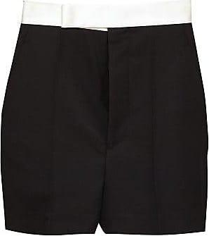 Haider Ackermann Silk-satin Waistband Wool Tuxedo Shorts - Womens - Black White